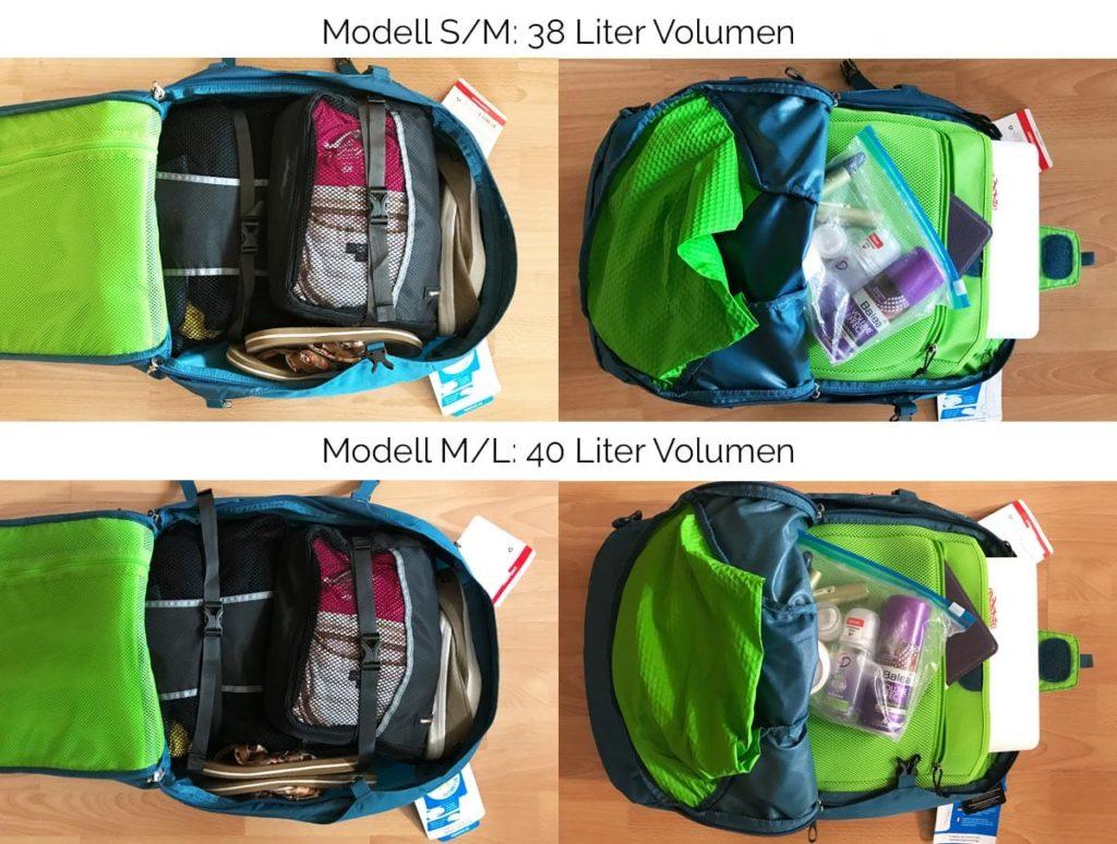 Vergleich Osprey Farpoint 40: Unterschied zwischen S/M und M/L
