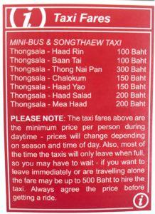 Koh Phangan Taxi und Songathew Preise