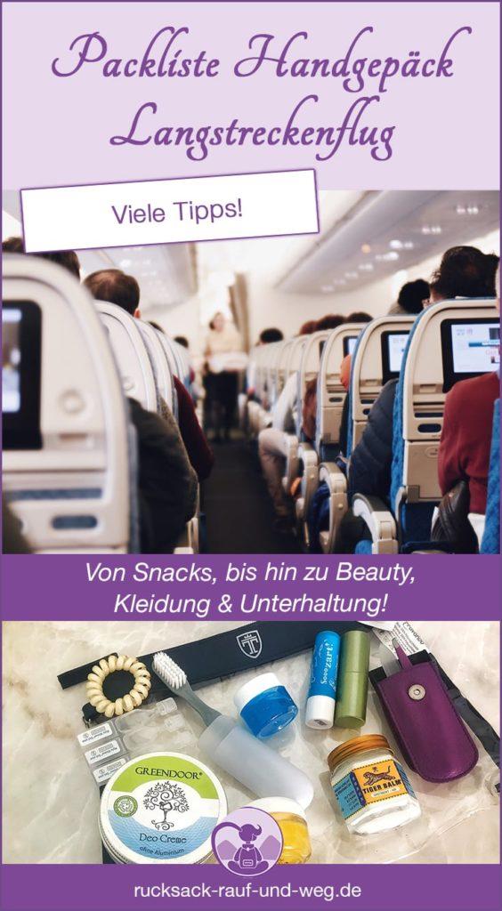 Packliste Handgepäck Langstreckenflug; Checkliste Handgepäck Flugzeug;