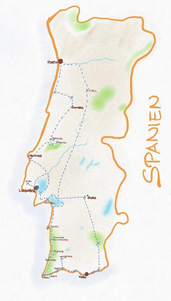 Portugal Karte für Rundreise 3 Wochen